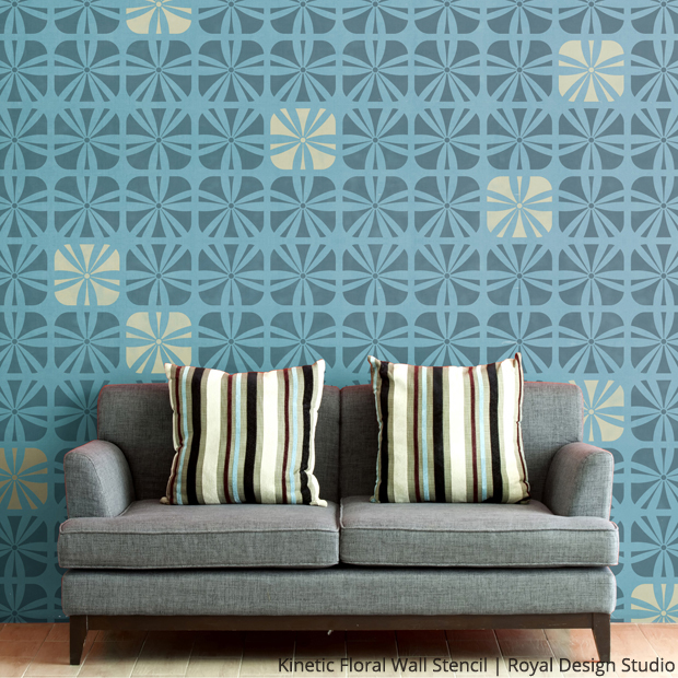 Large Kinetic Floral Wall Stencil | Royal Design Studio