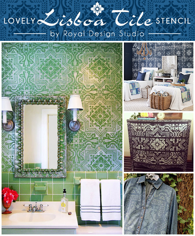 Stenciil Projects using Lisboa Tile Stencil by Royal Design Studio | Paint + Pattern