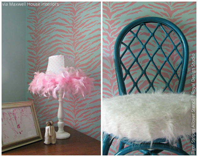 Bold Tiger Stripes stenciled Walls via Maxwell House Interiors | Royal Desing Studio