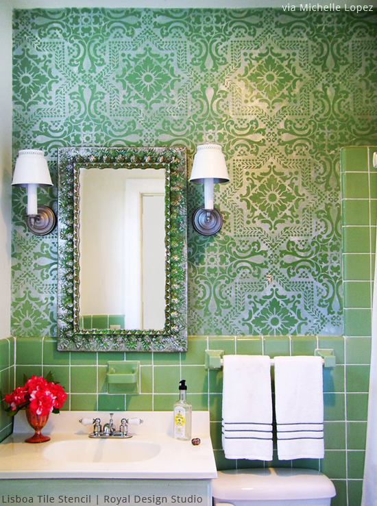 Stenciled Feature Wall via Michelle Lopez | Lisboa Tile Stencil by Royal Design Studio | Paint + Pattern