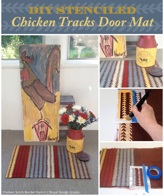 DIY Stenciled Chicken Tracks Door Mat | Paint + Pattern