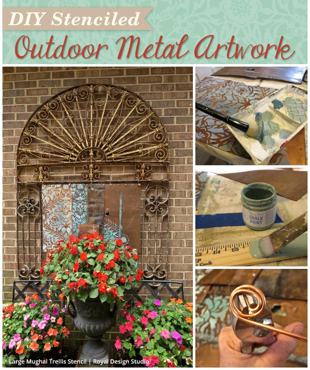 DIY Stenciled Outdoor Metal Artwork | Paint + Pattern