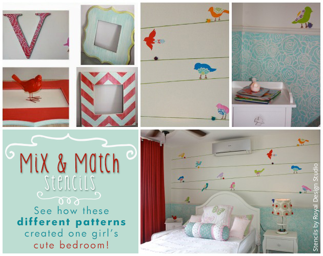 Mix & Match Stencils to Create a Cute Girls Bedroom | Paint + Pattern