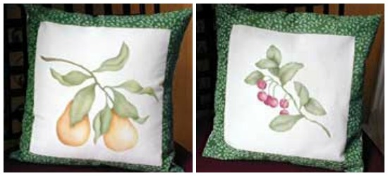 Pear - Cherry Stenciled Fabric Pillow