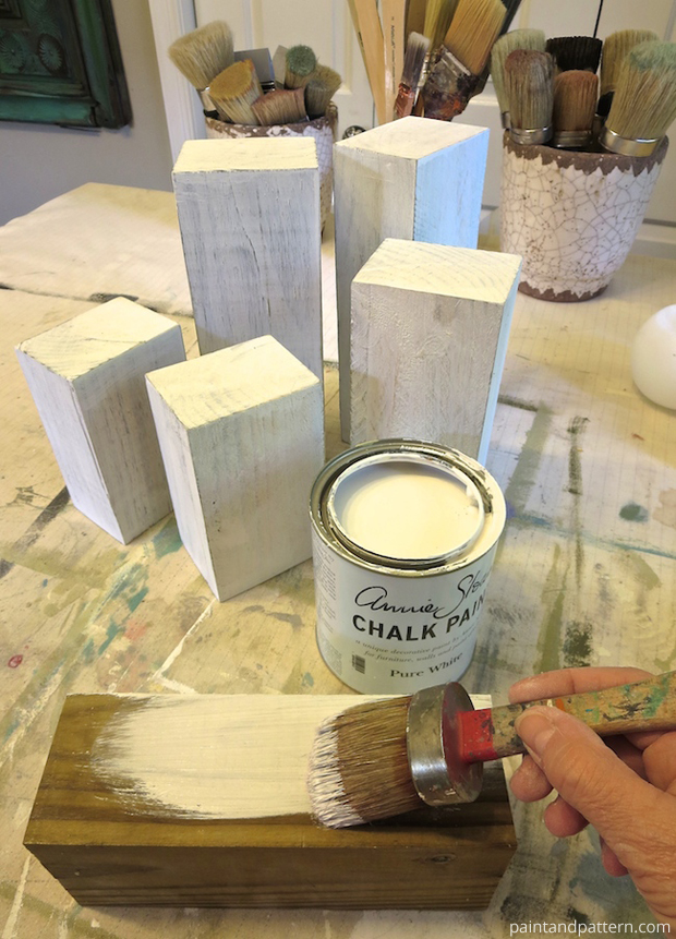 Pure White Chalk Paint® Coat for DIY Stenciled Chunky Candlesticks | Paint + Pattern