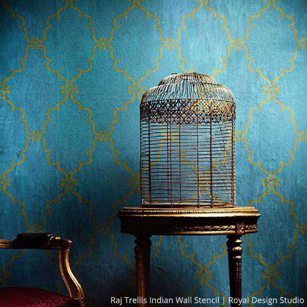 Raj Trellis Indian Wall Stencil | Royal Design Studio