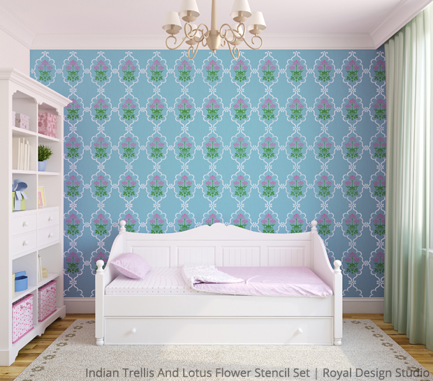 Indian Trellis and Lotus Flower Stencil Set | Royal Design Studio