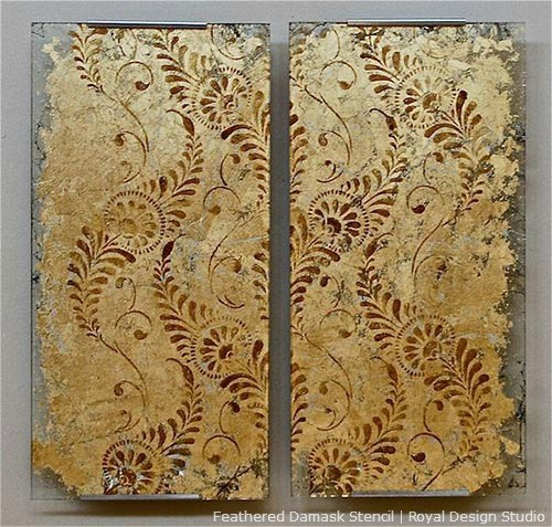 Reverse-Gilded-allover-stenciling-pattern-on-Glass