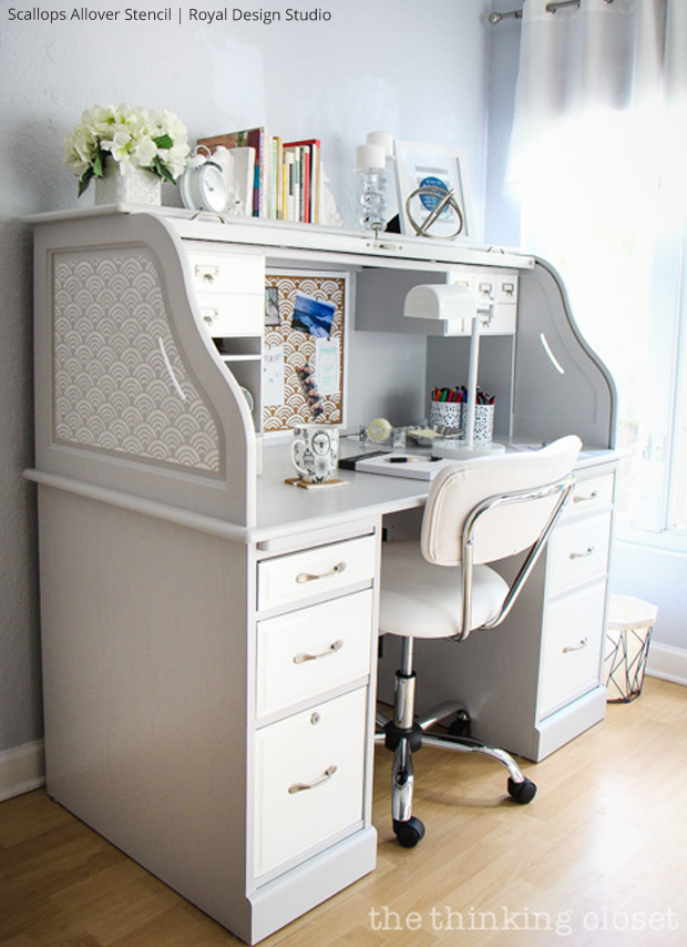 Roll Top Desk Makeover Via The Thinking Closet Paint Pattern