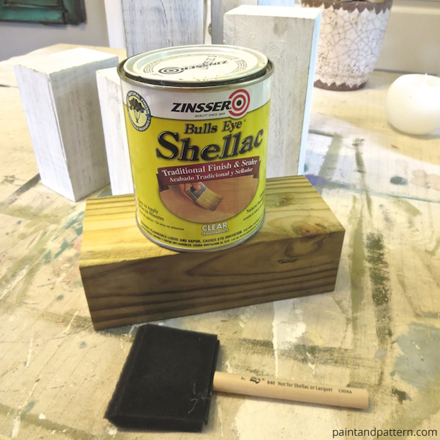 Shellac Coating for DIY Stenciled Chunky Candlesticks | Paint + Pattern