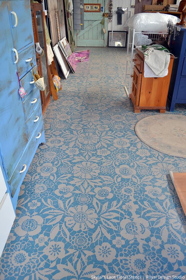 Stylishly Stenciled Floors Paint Pattern