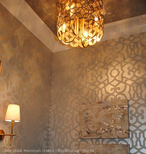 Stencil-Cremes-with-Allover-Wall-Stencil-Pattern
