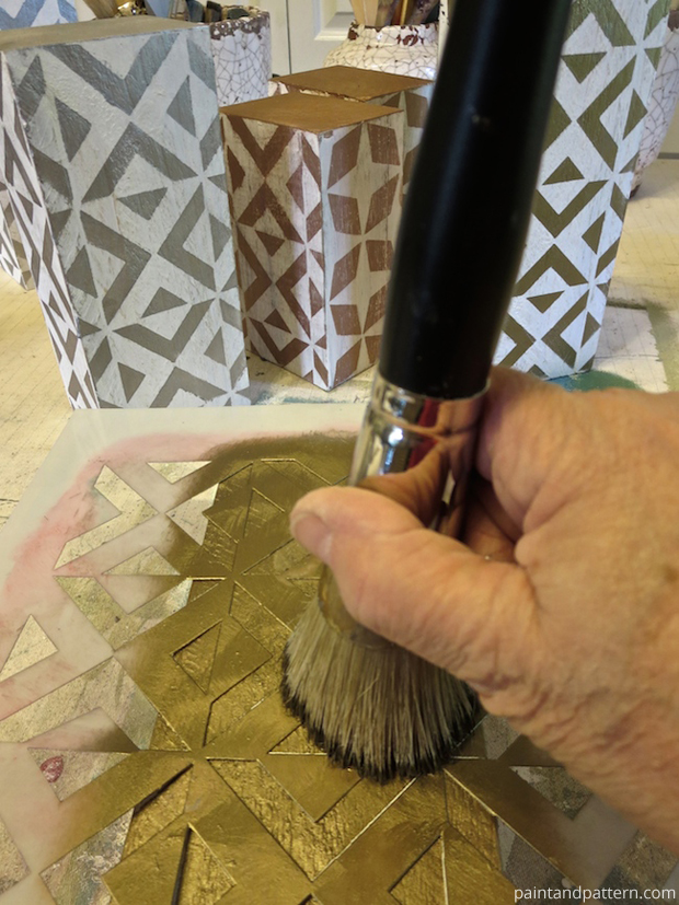 Stenciling with Stencil Cremes for DIY Stenciled Chunky Candlesticks | Paint + Pattern