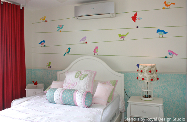 Mix & Match Stencil Patterns for a Cute Girls Bedroom | Paint + Pattern