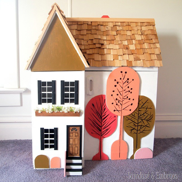 Stenciled Dollhouse via Sawdust and Embryos | Stencils by Royal Design Studio | Paint + Pattern