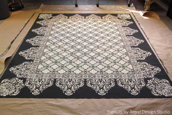 Stenciled-Floorcloth-Finished-Product-Rug-Wall-Stencils