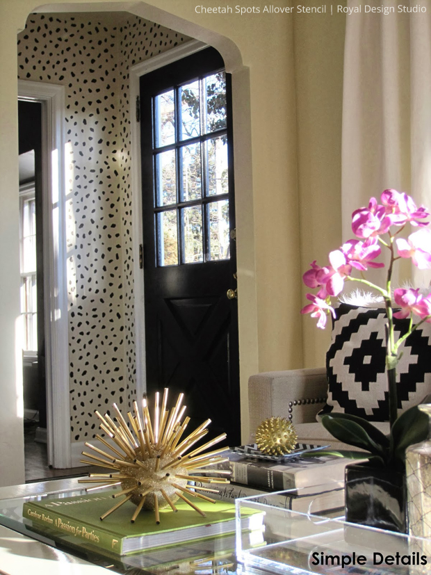 Stencile Foyer with Cheetah Spots Stencil by Royal Design Studio via Simple Details