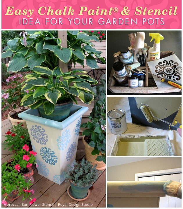 Easy Chalk Paint® and Stencil Idea for your Garden Pots | Paint + Pattern