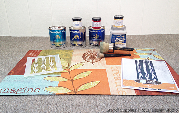Supplies for DIY Stenciled Door Mat | Paint + Pattern