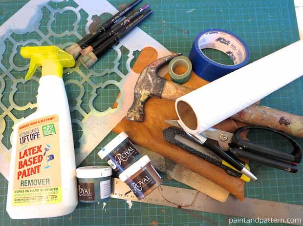 Supplies for DIY Roll-up Brush Holder | Paint + Pattern