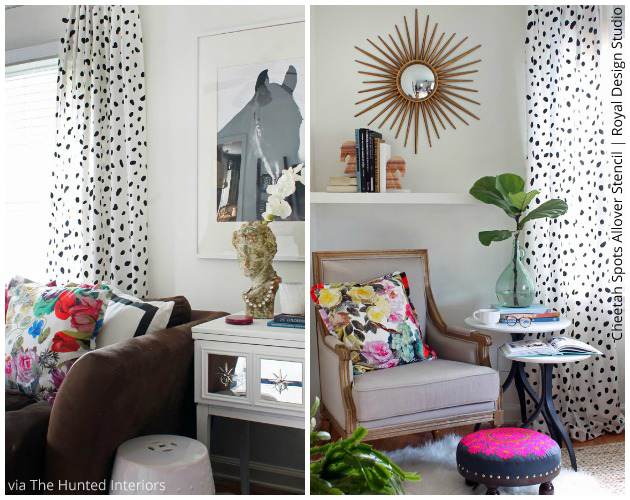 Chic Cheetah Spots stenciled curtains via The Hunted Interior | Royal Design Studio