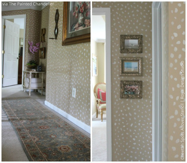 Roaring Hallway stenciled with Cheetah Spots Stencil via The Painted Chandelier | Royal Design Studio