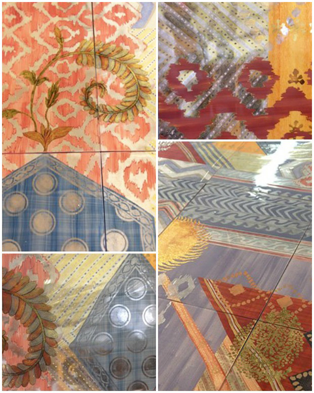 Verre Eglomise pattern panels by decorative glass artist Miriam Ellner | Paint + Pattern