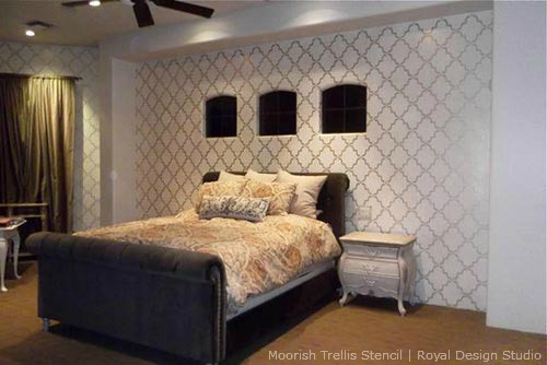 Wall-stenciling-with-Metallics-in-a-Bedroom
