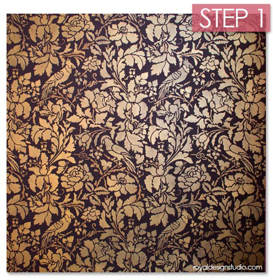 allover-wall-stencil-creme-gold-antiquing-step-1