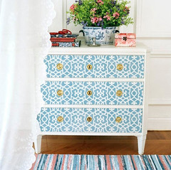 chez_sheik_wall_stencil_on_dresser__Stenciling_Tips