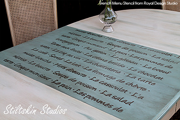 how-to-Stencil-quotes-to-dining-table