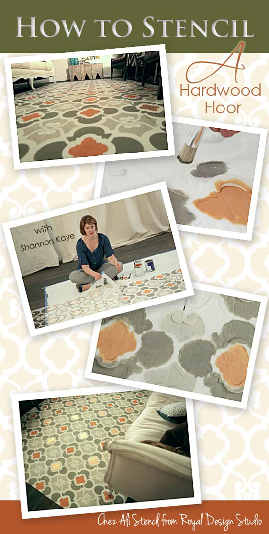Stencil a Carpet on a Hardwood Floor | Paint + Pattern