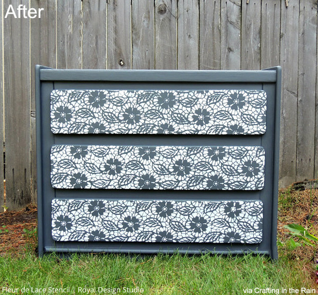 before after stenciled dresser makeover paint pattern