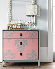 ribbon_damask_wall_stencil_on_Dresser_Stenciling_Tips
