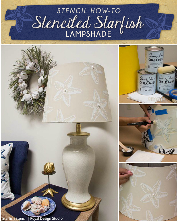 Outstanding Stencil How To Stenciled Starfish Lampshade Paint Pattern Pabps2019 Chair Design Images Pabps2019Com