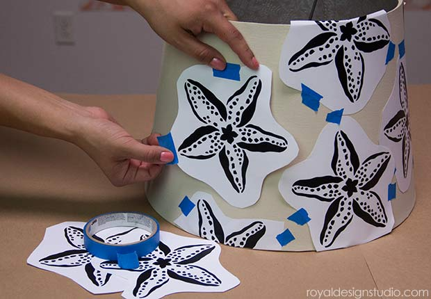 How to stencil a lampshade with a Starfish stencil from Royal Design Studio via Paint + Pattern