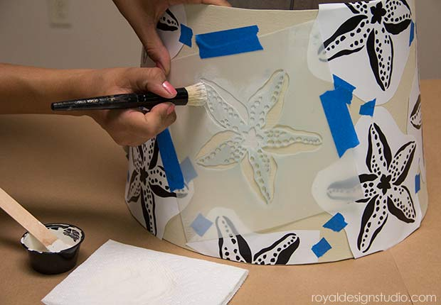 Stenciled Starfish Lampshade. How to stencil project from Royal Design Studio