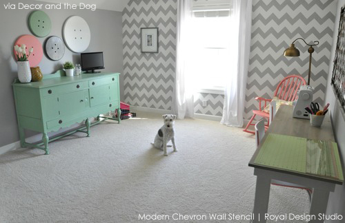 wall-stencil-chevron-craft-room
