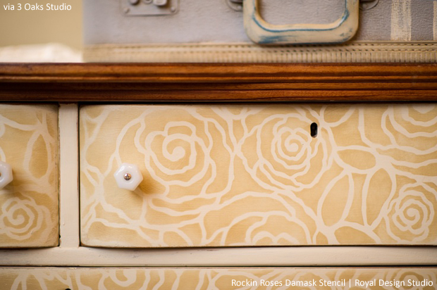 Rockin' Roses Damask Stencil by Royal Design Studio via 3 Oaks Studio