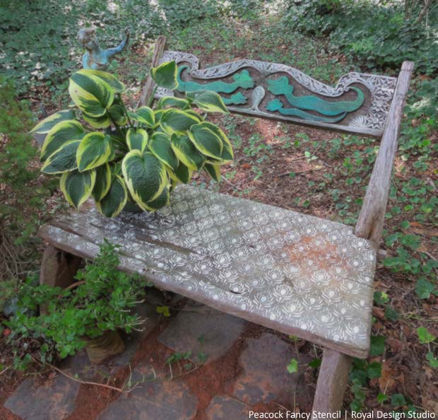 Stenciling an Outdoor Bench with Chalk Paint® | Paint + Pattern