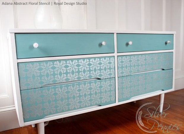 Adana Abstract Floral Furniture Stencil by Royal Design Studio via Silver Pennies