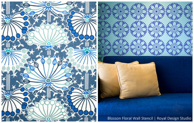 Get the Liberty of London Look with Blossom Floral Wall Stencil by Royal Design Studio