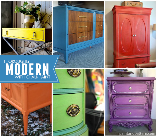 Chalk Paint® decorative paint on modern style furniture projects. So colorful! via Paint and Pattern