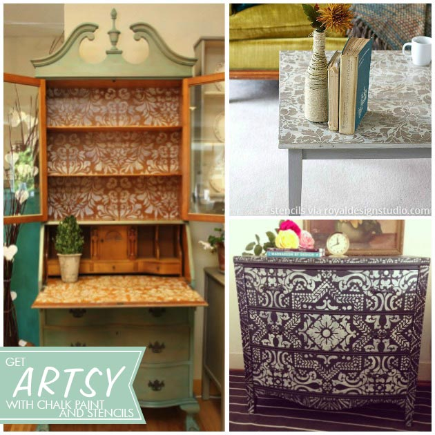Cool painted and stenciled furniture projects with Chalk Paint® via Paint and Pattern