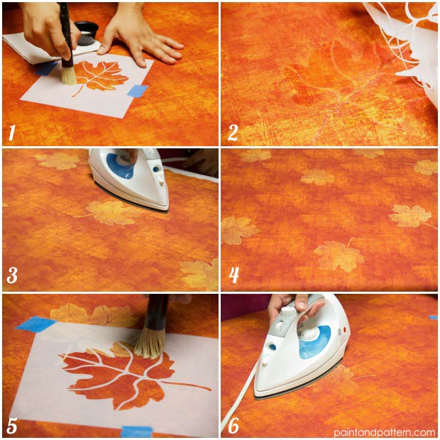 DIY Autumn tablecloth with Discharge Paste stencil technique using Royal Design Studio stenci. via Paint and Pattern