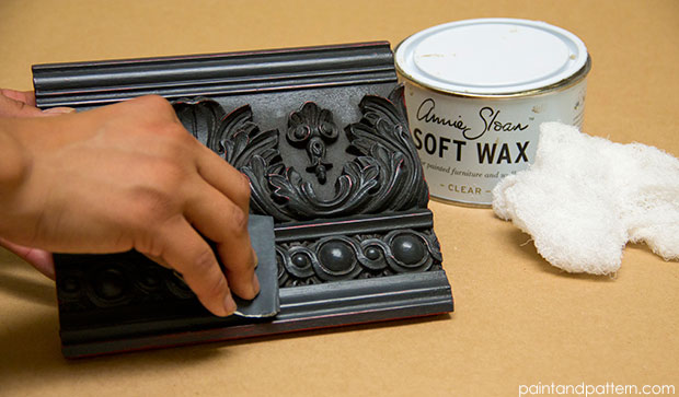 Chalk Paint techniques in including add in gold leaf accents on Paint and Pattern
