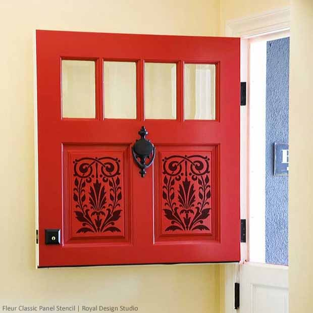 Fleur Classic Panel Stencil on a Dutch Doorway | Royal Design Studio