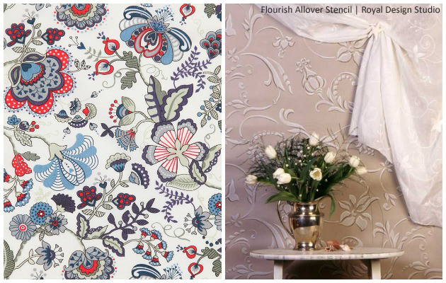Get the Liberty of London Look with Flourish Allover Stencil by Royal Design Studio