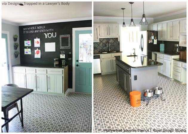 Bamboo Flooring made pretty with Hollywood Squares Stencil | Paint + Pattern