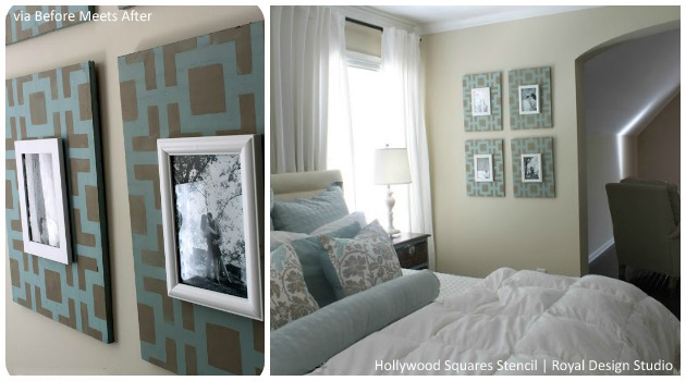 Picture Frames made pretty with Hollywood Squares Stencil | Paint + Pattern